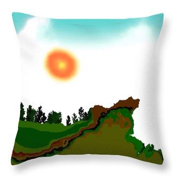 Fractal Landscape Throw Pillow by GuoJun Pan