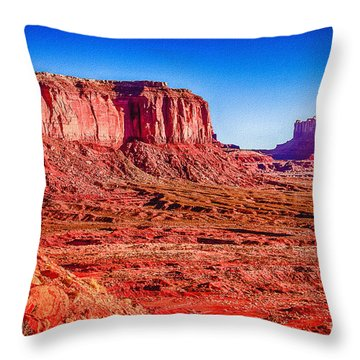 Golden Hour Sunrise In Monument Valley Throw Pillow by Bob and Nadine Johnston
