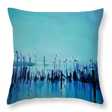 Lake With Reeds In Blue Throw Pillow by Jolanta Shiloni