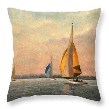 Late Finish Throw Pillow by Vic Trevett