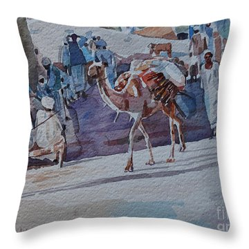 Market Throw Pillow by Mohamed Fadul