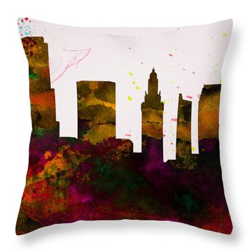 Miami City Skyline Throw Pillow by Naxart Studio