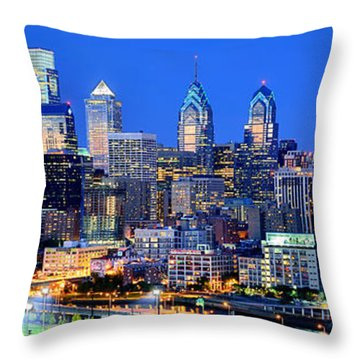 Philadelphia Skyline At Night Evening Panorama Throw Pillow by Jon Holiday