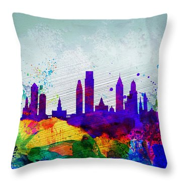 Philadelphia Watercolor Skyline Throw Pillow by Naxart Studio