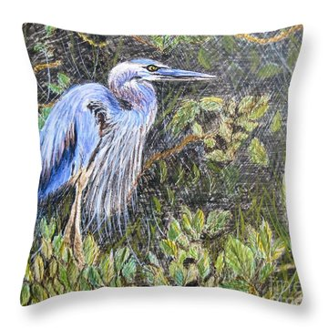 Ptg  Blue Heron Throw Pillow by Judy Via-Wolff