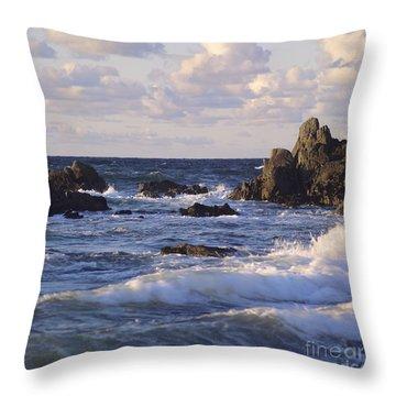 Seascape. Rocks. Normandy. France. Europe Throw Pillow by Bernard Jaubert