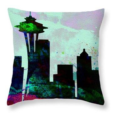 Seattle City Skyline Throw Pillow by Naxart Studio