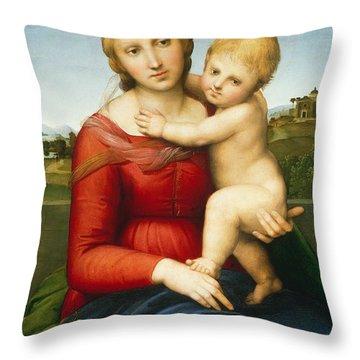 The Small Cowper Madonna Throw Pillow by Raphael Raffaello Sanzio of Urbino