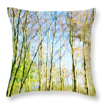 Tree Reflections Abstract Throw Pillow by Natalie Kinnear