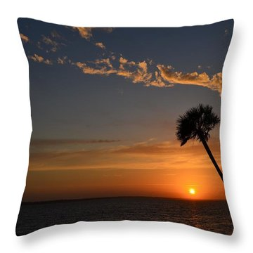 0502 Palms With Sunrise Colors On Santa Rosa Sound Throw Pillow by Jeff at JSJ Photography