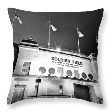 0879 Soldier Field Black And White Throw Pillow by Steve Sturgill