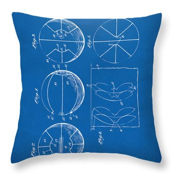 1929 Basketball Patent Artwork - Blueprint Throw Pillow by Nikki Marie Smith