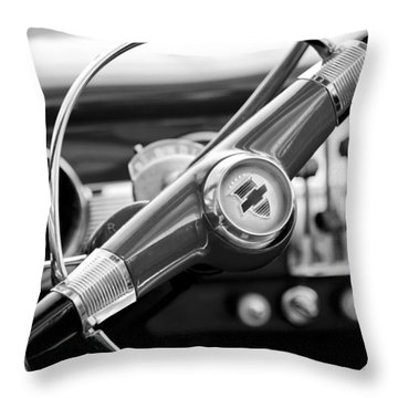 1951 Chevrolet Convertible Steering Wheel Throw Pillow by Jill Reger