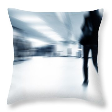 A Person Lost In The Rush Throw Pillow by Michal Bednarek