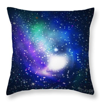 Abstract Galaxy Throw Pillow by Atiketta Sangasaeng