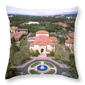 Aerial View Of Stanford University Throw Pillow by Panoramic Images