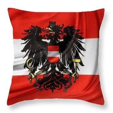 Austrian Flag Throw Pillow by Les Cunliffe