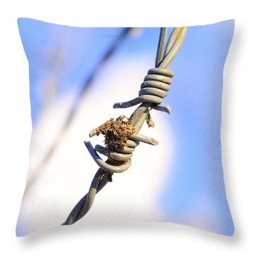 Barb Wire Throw Pillow by Toppart Sweden