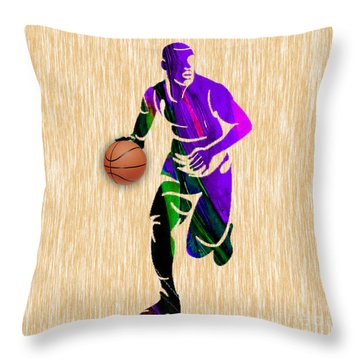 Basketball Player Throw Pillow by Marvin Blaine
