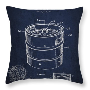 Beer Keg Patent Drawing - Green Throw Pillow by Aged Pixel