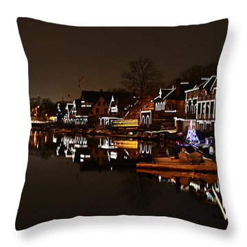 Boathouse Row Lights Throw Pillow by Bill Cannon