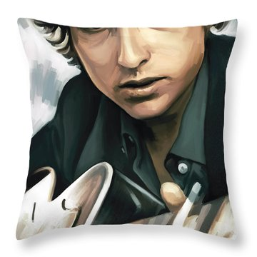 Bob Dylan Artwork Throw Pillow by Sheraz A