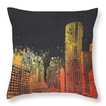 Boston City Skyline Throw Pillow by Aged Pixel
