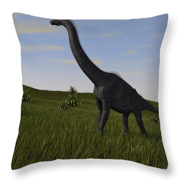 Brachiosaurus Grazing In A Grassy Field Throw Pillow by Kostyantyn Ivanyshen