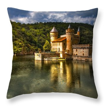 Chateau De La Roche Throw Pillow by Debra and Dave Vanderlaan
