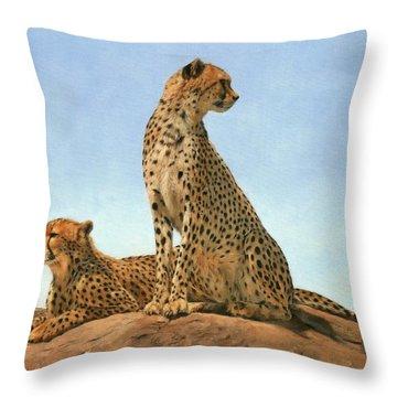 Cheetahs Throw Pillow by David Stribbling