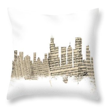 Chicago Illinois Skyline Sheet Music Cityscape Throw Pillow by Michael Tompsett