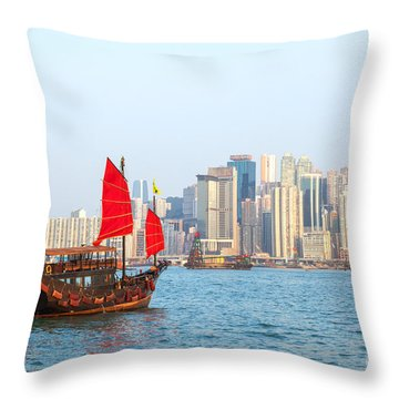 Chinese Junk Boat Sailing In Hong Kong Harbor Throw Pillow by Matteo Colombo