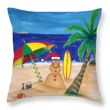 Christmas In Kona Throw Pillow by Pamela Allegretto