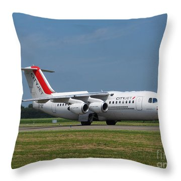 Cityjet British Aerospace Avro Rj85 Throw Pillow by Paul Fearn
