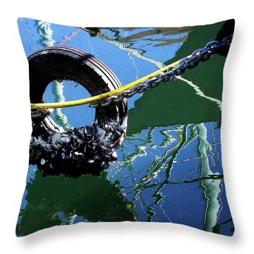 Clams On A Tire Throw Pillow by Xueling Zou