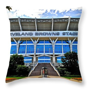 Cleveland Browns Stadium Throw Pillow by Frozen in Time Fine Art Photography