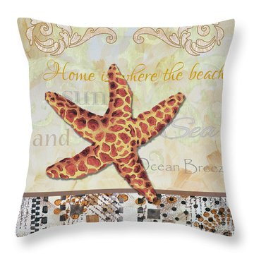 Coastal Decorative Starfish Painting Decorative Art By Megan Duncanson Throw Pillow by Megan Duncanson