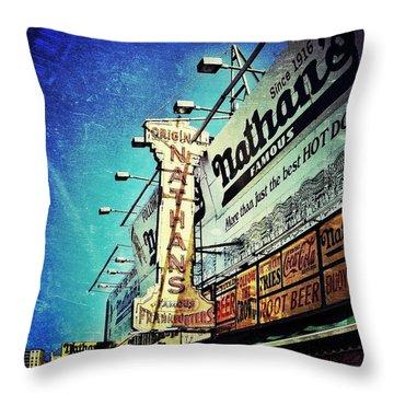 Coney Island Grub Throw Pillow by Natasha Marco