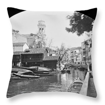 Throw Pillow featuring the photograph Pegnitz River Nuremberg Germany 1903 by A Gurmankin