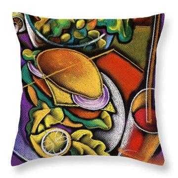 Dinner Throw Pillow by Leon Zernitsky