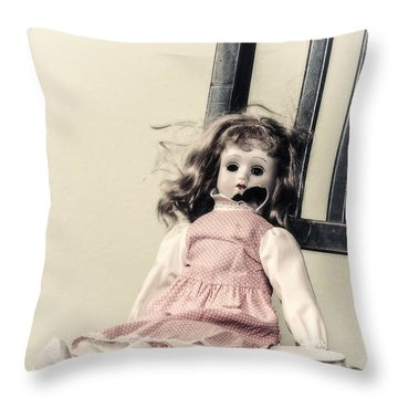 Doll With Tea Cup Throw Pillow by Joana Kruse