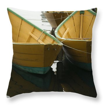 Dories At The Dock Throw Pillow by David Stone