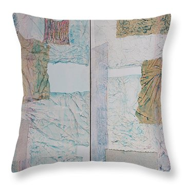 Double Doors Of Unfinished Projects In Blue  Throw Pillow by Asha Carolyn Young