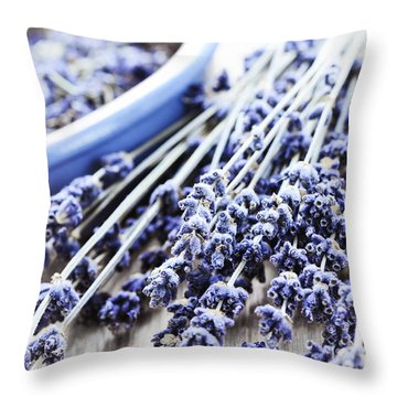 Dried Lavender Throw Pillow by Elena Elisseeva