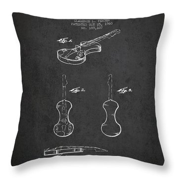 Electric Violin Patent Drawing From 1960 Throw Pillow by Aged Pixel