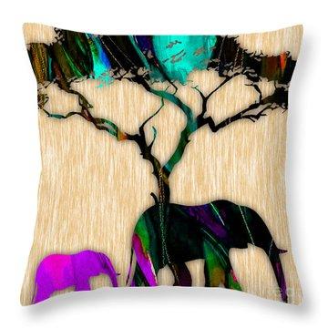 Elephants Throw Pillow by Marvin Blaine