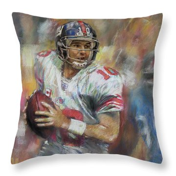 Eli Manning Nfl Ny Giants Throw Pillow by Viola El