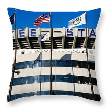 Flags In Front Of A Stadium, Yankee Throw Pillow by Panoramic Images