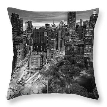 Flatiron District Birds Eye View Throw Pillow by Susan Candelario