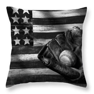 Folk Art American Flag And Baseball Mitt Black And White Throw Pillow by Garry Gay